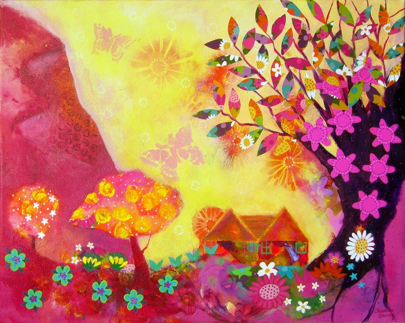 Beautiful colourful landscape art print of a cottage bathed in image 0