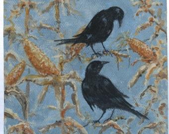 Crows in Corn/original Tiny Mini Original Painting