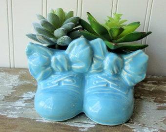 Vintage McCoy pottery baby shoes planter aqua blue baby booties twin vase Nursery