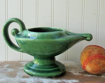 Vintage Brush McCoy pottery planter Aladdin's lamp vase green succulent cactus planter 1970s