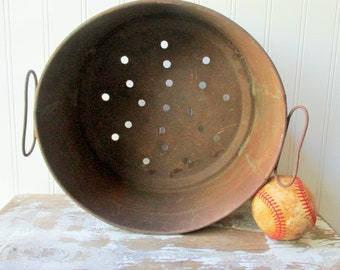 Vintage rusty metal strainer colander large hole cheese whey dairy strainer Primitive bowl basket upcycle lampshade planter