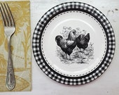 Hen Rooster paper plates 8 pack , 7 inch chicken dessert party shower luncheon plates , black and white Farmhouse