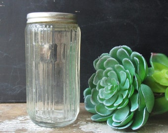 Vintage Sellers glass spice jar canister metal lid antique ribbed pattern hoosier cabinet style farmhouse decor storage