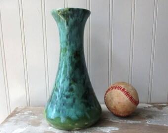 Vintage Brush McCoy onyx ware vase green aqua spruce green drip glaze classic flared vase 069