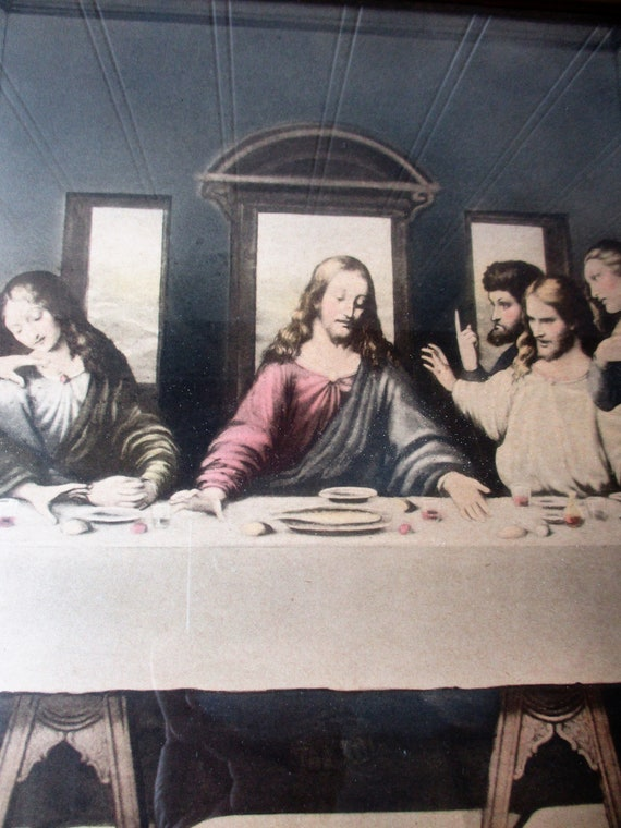 0f3f718eb7b Vintage Last Supper framed print picture unusual hand tinted