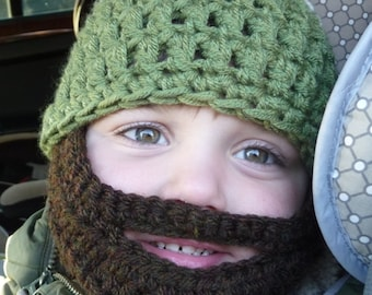 Instant Download Digital File PATTERN Crochet Pattern Beard Hat for Child Three Sizes