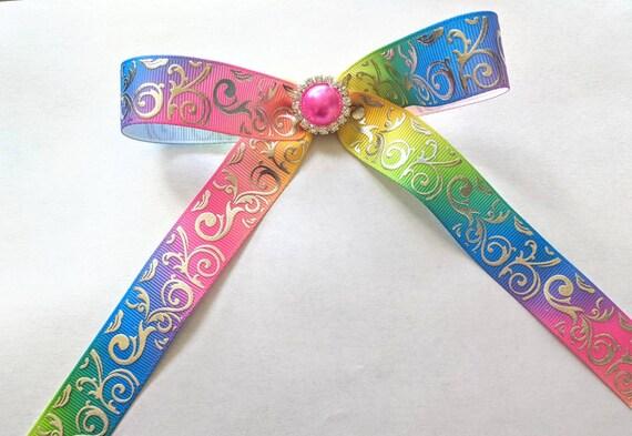 Rainbow damask Tails down rhinestone hair bow