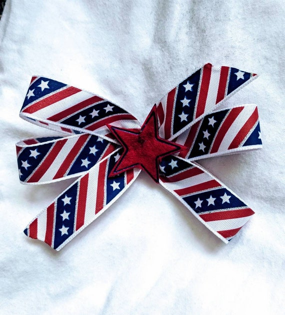 Fourth of July Hair Bow Red White Blue Hair Bow Stars Stripes America Independence Day Hair Clip