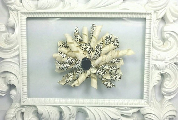 Korker Hair Bow Creme and Black Big KorkerHair Bow Rhinestone Korker Bow Cute Hair Bow Hair bows for Girls Toddler Baby Bridal Hair Bow