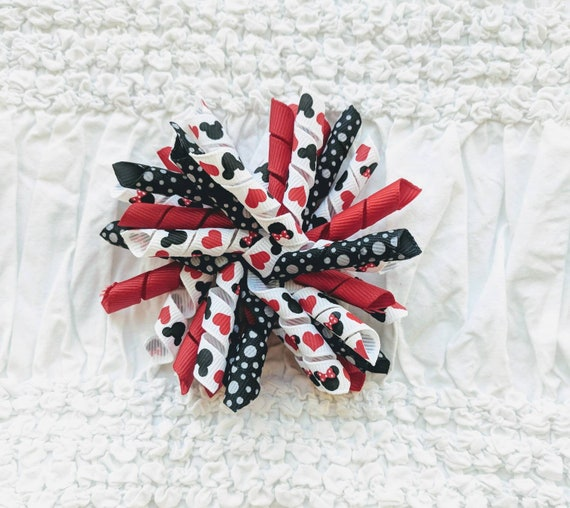Mickey Mouse Korker Hair Bow Red Black White