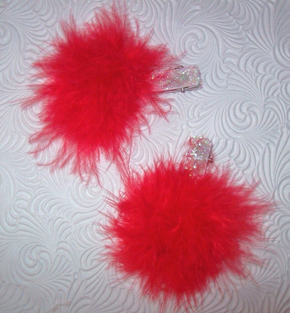 Marabou Puff Hair Clips Red and White Glitter Lined Clips