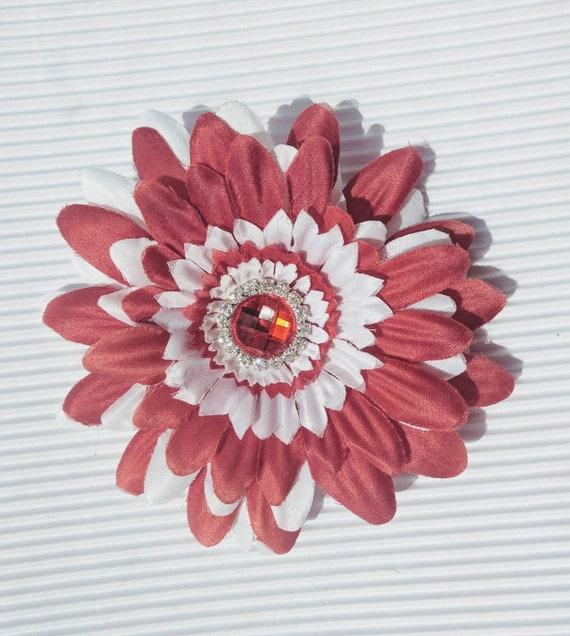 Red White Rhinestone Daisy Flower Hair Clip Flower Hair Bow Alligator hair clip Daisy