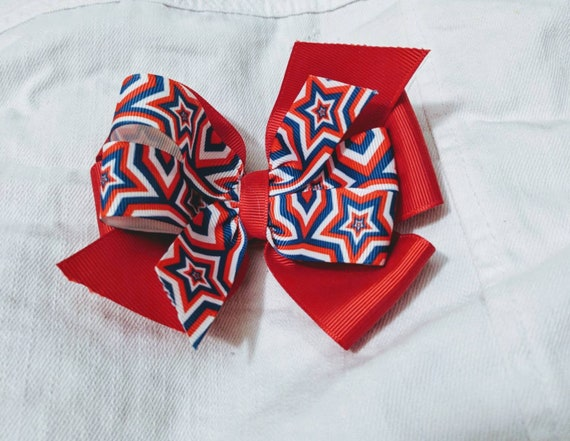 Fourth of July hair bow Independence Day hair bow red white and blue America hair clips hair accessory