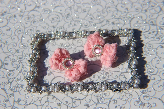 A set of  Pink Hair Bows hair Clip Hair Accessories Hair Bow Hairbow Alligator Clip Pink Flower Hair Clip