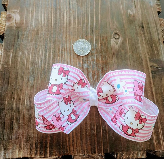"Hello Kitty Pink White Large 4"" Hair Bow Childrens Accessory Alligator Clip Boutique Hair Bow Butterfly Hair Bow"
