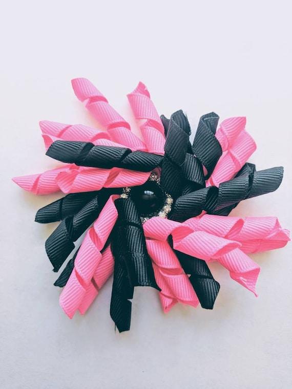 Shocking pink and black Rhinestone korker hair bow