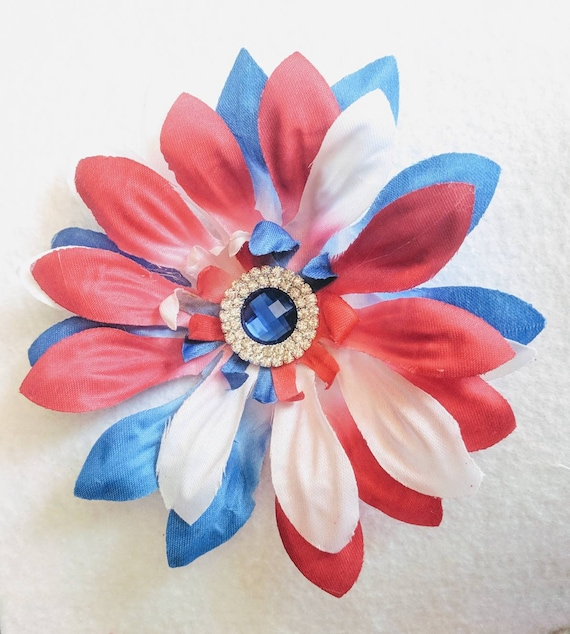 Fourth of July ombre red white and blue daisy rhinestone flower Hair Club hair accessory