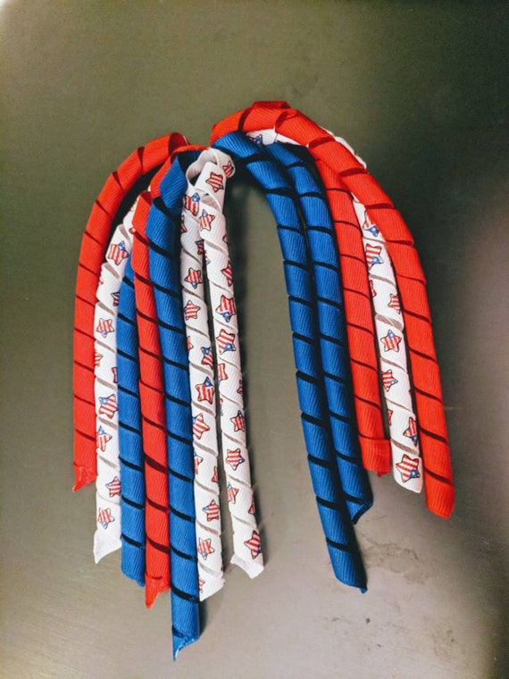 Ponytail Streamers korker Bow Fourth of July streamer hair Bow Red White Blue Hair Bow Hair Accessories