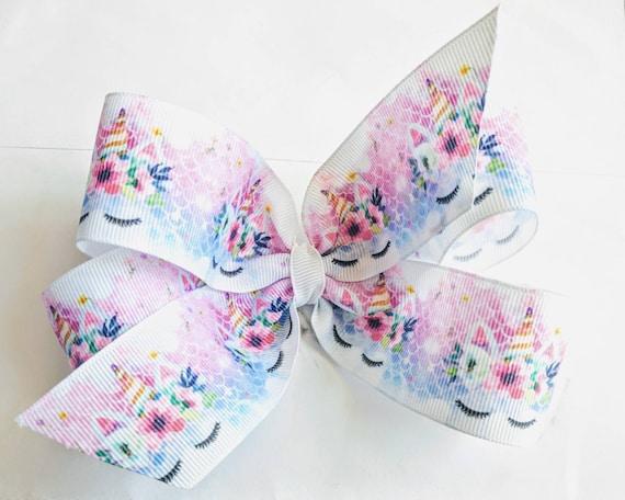 Unicorn Hairbow grosgrain hair bow unicorn hair bow