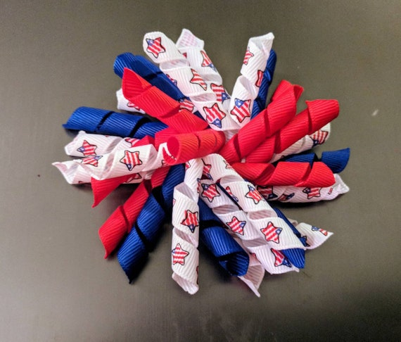 Girls Korker Hair Independence Day  Korker Bow  4 inch Korker Hair Bows for girls toddler red white blue korker bow fourth of July korker