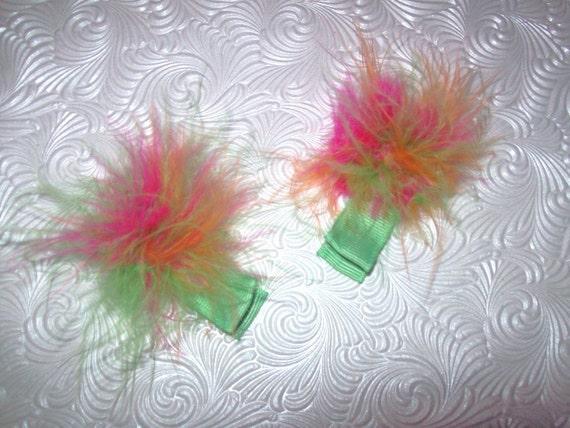 Marabou Hair Clips Puffs Rainbow Green