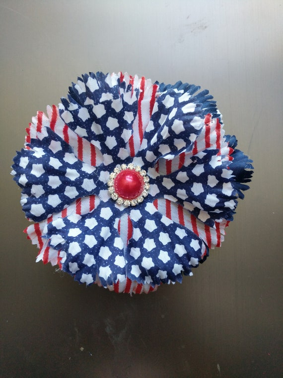 American flag rhinestone flower hair clip patriotic flower hair accessory Independence Day Fourth of July red white and blue Stars Stripes