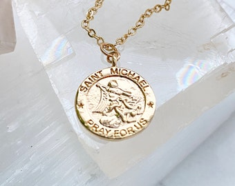 Saint Michael Necklace / Gold Saint Coin Necklace / Gold Coin Necklace / Gold Filled Coin Necklace / Layering Coin Necklace / Saint Necklace
