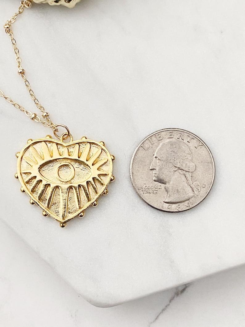 Gold Heart Necklace  Heart Pendant Necklace  Eye Heart Necklace  Gold Heart Charm Necklace  Layering Necklace  Gold Layering Necklace