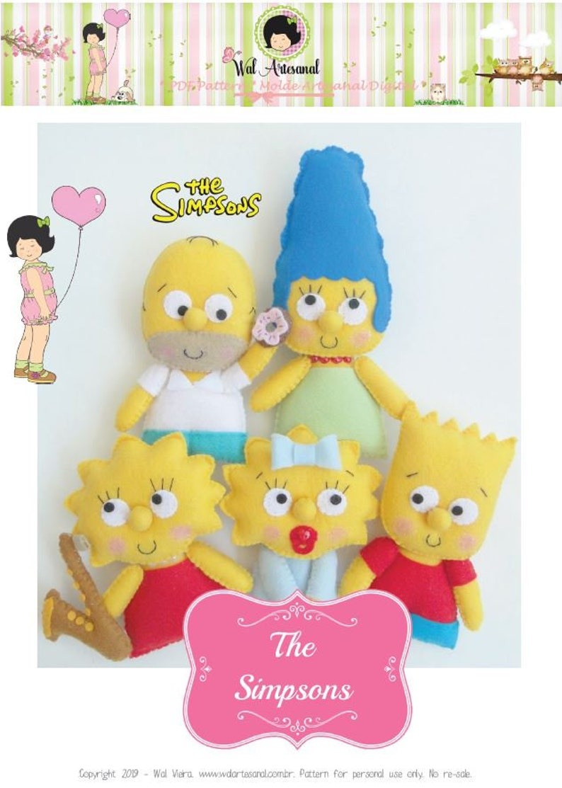 Lisa /& Maggie! Homer Bart The Simpsons PDF Pattern Marge