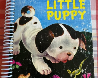 """Little Golden Book """"The Poky Little Puppy"""", Upcycled Vintage Book into Journal/Sketchbook"""