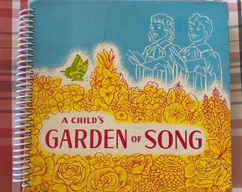 """1949 """" A Child's Garden of Song """"Upcycled Vintage Book into Journal/Sketchbook"""