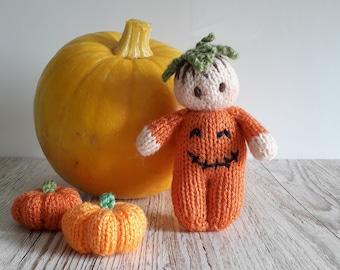 Halloween Bitsy Baby  Pumpkin doll Printed  knitting pattern