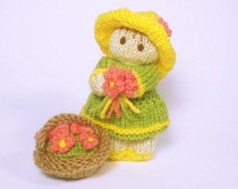 Flower Garden Bitsy Baby Doll Knitting Pattern