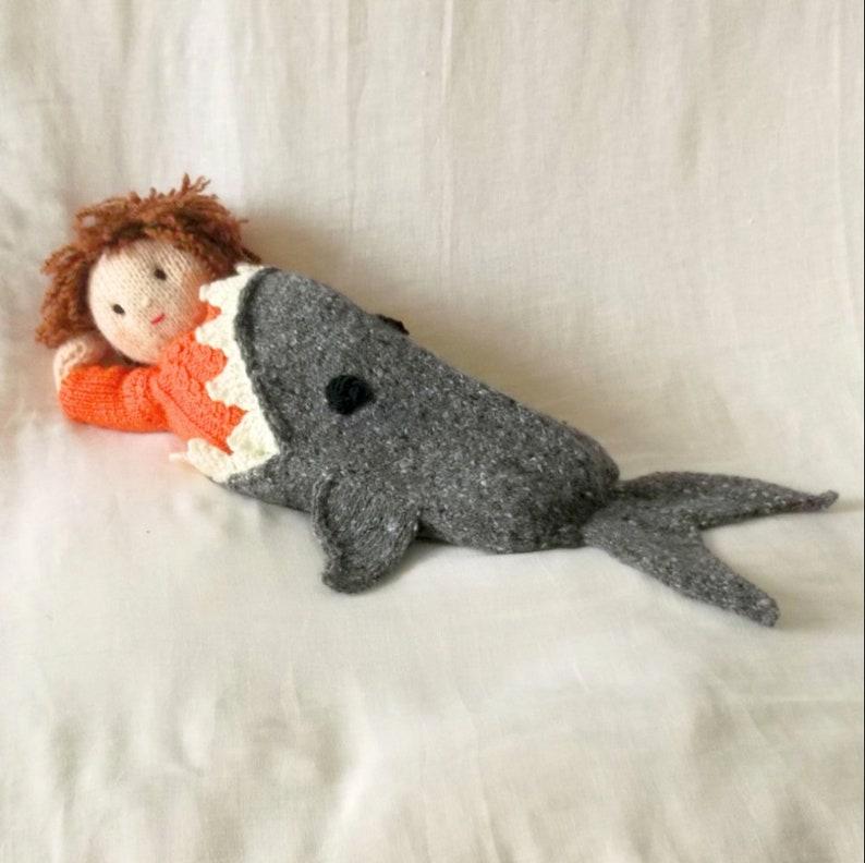 Dolls blanket Printed knitting Pattern Shark attack