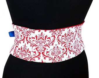 Red and White Damask Corset / Mini Waist Cincher / Obi Belt / Wedding Belt / Bridesmaid Sash / Plus Size Corset / Lingerie Corset / Custom