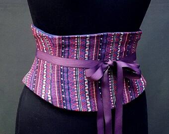 Blue and Red Striped Corset Belt / Waist Cincher / Costume Belt / Plus Sized Cincher / Waspie / Steel Boned Corset / Wedding Corset Belt