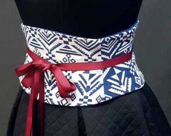 Blue and White Corset / Waist Cincher / Tight Lacing Steel Boned Waist Shaper / Plus Sized Corset / Blue White Obi Belt / Custom and Quick