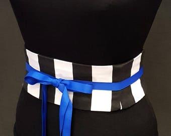 Black and White Striped Obi Corset / Waist Cincher / Offbeat Bride / Wedding Corset Belt / Circus Costume / Halloween / Plus Size Belt Sash