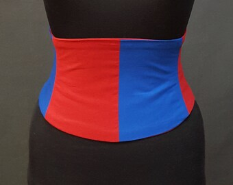 Superhero Corset Belt / Steel Boned Waist Cincher / Red and Blue Split Belt / Flexible Dance Corset / Underbust Waspie Waist Shaper