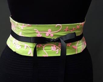 Neon Lime and Hot Pink Obi Belt / Corset Belt / Waist Cincher / Sparkle Overlay / Pink and Green Sash / Offbeat Wedding / Plus Sizes