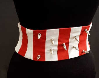 Metal Spikes Red and White Striped Boned Corset Waist Cincher Obi Belt / Festival Belt / Metal Circus / Studded Corset / Red White Stripe