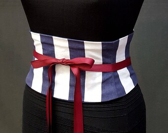 Striped Corset Belt / Navy and White Stripe Waist Cincher / Pirate Costume Corset / Halloween Costume / Waspie Belt / Plus Size Obi Belt