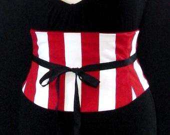 Circus Corset / Red and White Jumbo Stripe Waist Cincher / Halloween Costume Corset Belt / America Corset / Captain Corset / Pirate Costume
