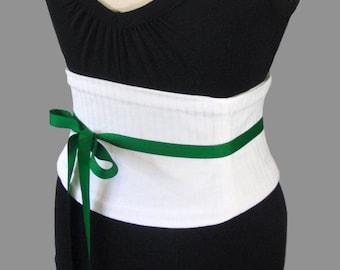 a2fc490bb White Corset Belt   Subtly Striped Waist Cincher   Steel Boned   Wedding  Corset   White Sash   Obi Belt   Menswear   White Belt   Plus Size