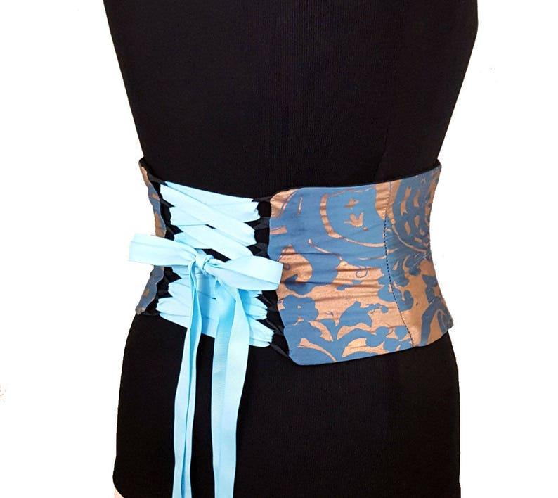 de9d1477ce Blue and Gold Corset Belt Waist Cincher   Reversible Belt