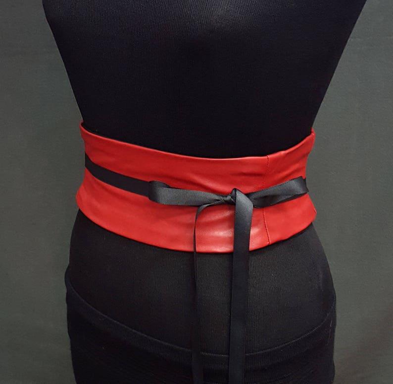 19d8f044a73 Faux Leather Corset Belt   Red Waist Cincher   Reversible Belt