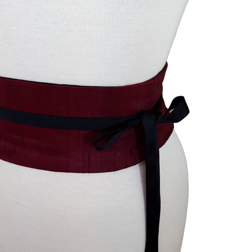 3a059564926 Burgundy Silk Obi Belt Corset Belt   Waist Cincher