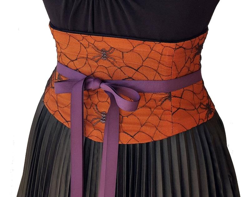 5bc5682f5a0 Halloween Corset   Spiderweb Waist Cincher   Orange and Black