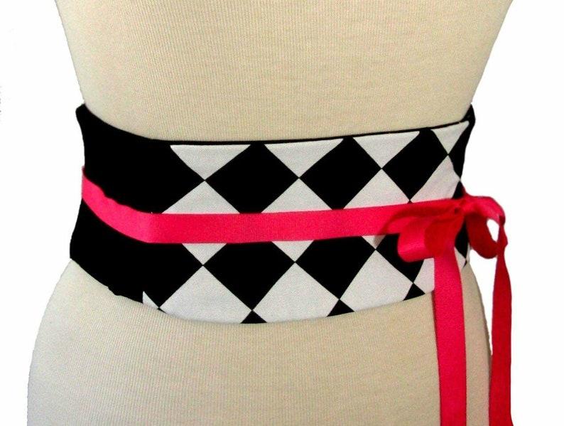 Sale Corset  Fits Waist Sized 24 to 26  Harlequin Corset  Waist Cincher  Ready to Ship  Sample Sale  Obi Belt