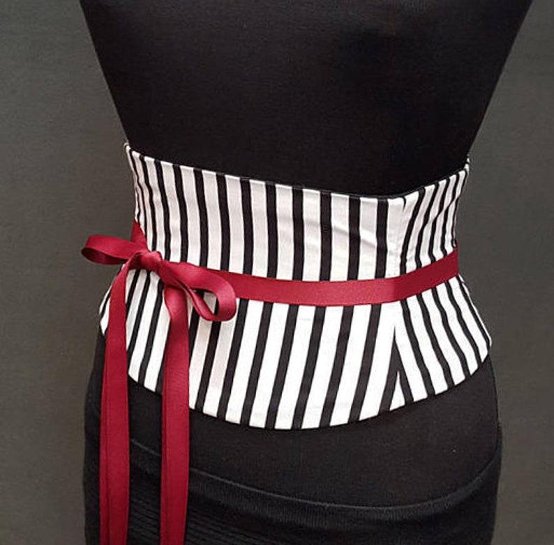 8dcb8f93c8b Striped Corset   Black White Stripe Waist Cincher   Steel